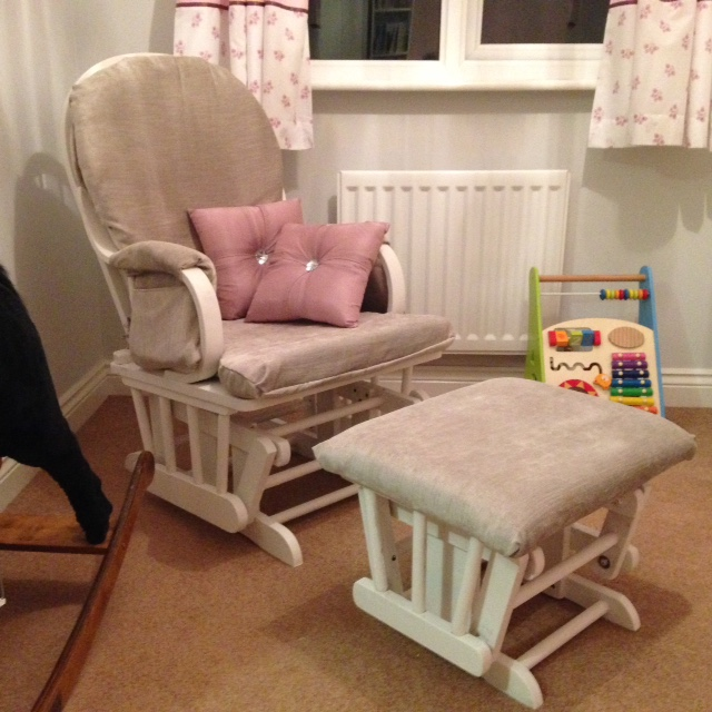 Nursing chair and stool, fully reupholstered and painted white