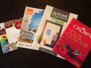 Paint colour booklets from various DIY shops