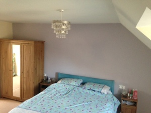 Wall painted with Wickes' Twilight Mist