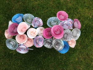 Paper flowers in grass