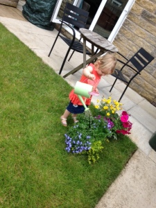 Scarlett watering hanging baskets