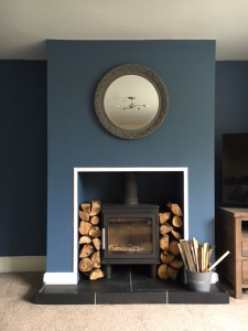 Blue log burner