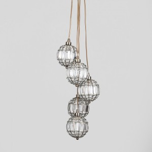 Decorative 'Casino' 5 Way K9 Crystal Cluster Ball Ceiling Light in Chrome Finish